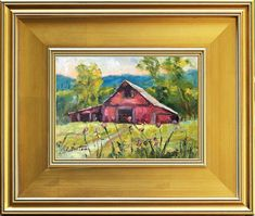 Red Barn Tennessee Old Barn Painting Original Oil Painting