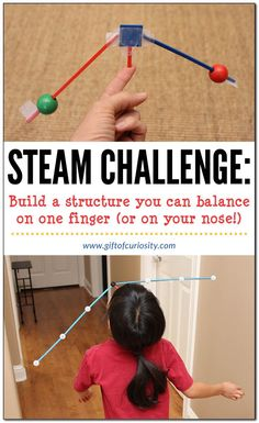 STEAM Challenge: Build a structure you can balance on one finger (or on your nose!), then walk all the way across the room without letting the structure fall. Steam Activities, Science Activities, Activities For Kids, Science Experiments, Gravity Experiments, Science Books, Stem Projects For Kids, Stem For Kids, Stem Science