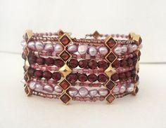 Vintage Purple Pearl Amethyst Cuff Bracelet #ebay #jewelry #elegantkb