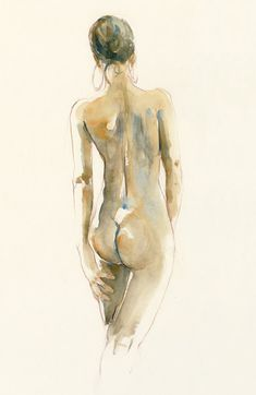 Alan White figure studies in watercolour and pastel