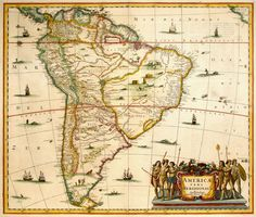 Antique Map Janssonius South America HR - high resolution image from old book. Old Maps, Antique Maps, All World Map, Adventure Symbol, South America Destinations, Amazon River, Historical Maps, Vintage Wall Art, Vintage Maps
