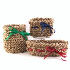 Mini crocheted twine baskets a use for the hay bale twine or make jute looking rugs for outside of the front door