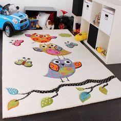 kinderteppich eulen teppich kinderzimmer teppich