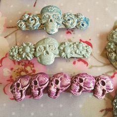 "13 Likes, 2 Comments - Skullduggery Ceramics (@skullduggeryceramics) on Instagram: ""Skully hairclips from yesterday's firing. I wonder whether I can put even more skulls on the next…"""