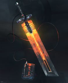 Jogador - Eu saco a minha espada flamejante!  Mestre - Flamejante? Mas não existem itens mágicos nesse mundo!  Jogador - É, eu sei!    Electrified Burning Sword, por Mehrdad Malek