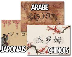Creer votre tableau personnalise de votre prenom calligraphie en arabe, chinois ou japonais