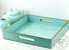 Tiffany Blue Tray with Gold Rim | Light Blue | Shop By Colour | Party Collection | The Little Big Company Pty Ltdparty, glass bottles, swizzle sticks, beverage dispenser, birthday, gift, rock candy