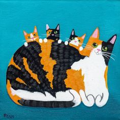 Calico Cat and Kittens