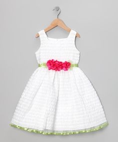 Take a look at this White Rosette Dress - Toddler & Girls by Sweet Heart Rose on #zulily today!