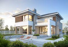 projekt Wyjątkowy 3 What is Art ? Bungalow House Design, House Front Design, Modern House Design, Big Beautiful Houses, Beautiful House Plans, Home Room Design, Home Design Plans, Home Styles Exterior, Modern House Facades