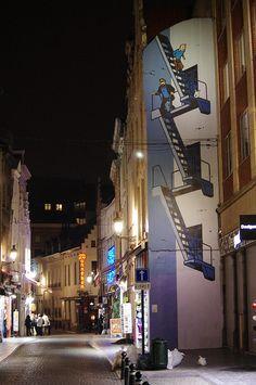 Tin-tin Bande Dessinee (BD) Street Art by Night - Brussels, Belgium