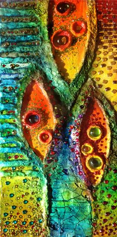 Abstract Painitng, Tree painting, Bright colors, textured, Rhinestone, Glass Art, Organic, Modern Painting, Felicità, Wall Sculpture