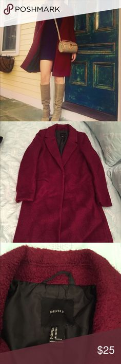 Maroon wool long coat Amazing wool coat. This color is so in for fall. You will get compliments on this coat all the time! Great for layering! Heavy coat will definitely keep you warm during fall and into winter! Forever 21 Jackets & Coats Pea Coats