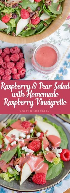 Raspberry & Pear Salad with Homemade Raspberry Vinaigrette - An easy and delicious Salad that is the perfect compliment to any holiday meal.