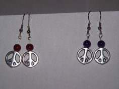 Silver Peace Sign Earrings with semi precious stones by SweetJDesigns, $6.50