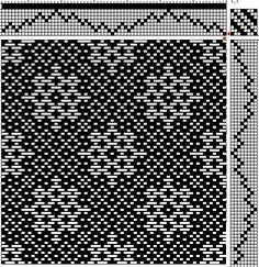 Looks like snowflakes on 8 shafts. Weaving Designs, Weaving Projects, Weaving Patterns, Inkle Loom, Loom Weaving, Knitting Charts, Loom Knitting, Tablet Weaving, Hand Weaving