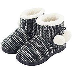 1acdf89d4 HomeTop Women's Comfy Knit Plush Fleece House Bootie Slippers For Girls &  Teens Cute Memory Foam