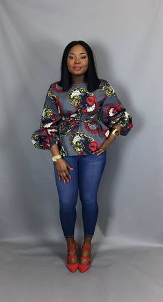 African print fabric used for blouses,dashiki tops, that can be Rocked with Jeans Trouser for AFRICAN WOMEN - WearitAfrica African Print Dresses, African Print Fashion, Africa Fashion, African Fashion Dresses, African Dress, Ankara Fashion, African Blouses, African Tops, African Women