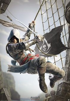 Poster affiche Assassin's Creed Black Flag A l'abordage ! The Assassin, Arte Assassins Creed, Assassins Creed Black Flag, Assassins Creed Origins, Assassin's Creed 3, Video Minecraft, Assasins Cred, Assassin's Creed Black, Game Art