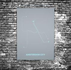 Amsterdam City C5 - Acrylic Glass Art Subway Maps (Metrokaart, Acrylglas)