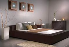 Amazing Dark Wood Bedroom Furniture Gray Wall Marble Floor Design