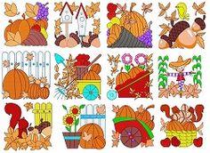 Fall Blocks Set, 12 Designs - 4x4 | What's New | Machine Embroidery Designs | SWAKembroidery.com Fun Stitch