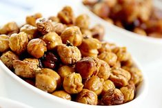 Genius! Simple, crunchy roasted chickpeas - gotta try these, full of protein and fiber for staying power.  Plus zinc and folate to boot! YUM!
