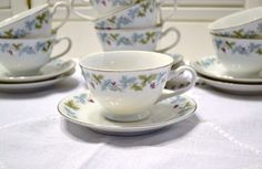 Vintage Fine China Cups and Saucers Set of 8 Grape by PanchosPorch