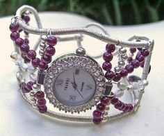 Sterling Silver and Garnet Watch Cuff by ShazzabethCreations, $225.00