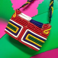Antique Vintage 1940s Telephone Cord - Colorful Color Block Primary Purse Bag by TrashPalaceVintage on Etsy https://www.etsy.com/listing/224250188/vintage-1940s-telephone-cord-primary