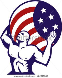 Illustration of Atlas looking up carrying on his back globe world earth draped with usa american stars and stripes flag viewed from front set on isolated white background done in retro style. #starsandstripes #retro #illustration
