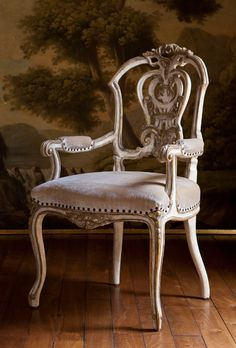 "Dauphine II Arm Chair...Dining No: 502-025-025  23-1/2""W x 26""D x 41""H  Hand-carved arm chair with intricately carved pierced back. Weathered iv..."