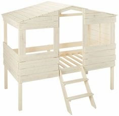 Donco 84 Inch Twin Tree House Loft Bed with Built in Ladder, House Design Frame and Solid Pine Construction in Rustic Sand Toddler House Bed, Low Loft Beds, Bedroom Themes, Bedroom Ideas, Bedroom Designs, Kids Bedroom, Bedrooms, Under Bed Storage, Extra Storage