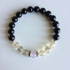 Overcoming Fear ~ Genuine Black Onyx, Citrine & Rose Quartz Bracelet w/ Sterling Silver Celtic Caps and Spacers on Etsy, $32.00