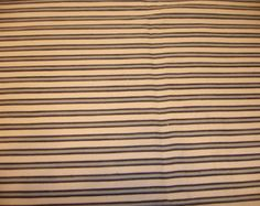 """Vintage French Ticking / Upholstery Fabric  Navy Blue, Steel Gray, Off-White stripes 30"""" by 30"""" MPY 057"""