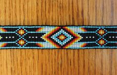 Multi Colored Beaded Headband with Native American Pattern and Black Ribbon Tie