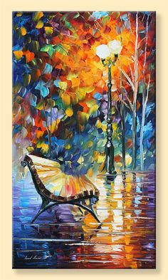 Lonely Bench  Limited Edition Night Park by AfremovArtStudio