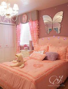 Pink girls room window treatment