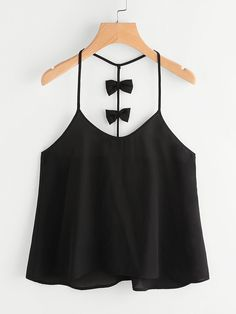 Shop Bow Embellished Y-Back Cami Top online. SheIn offers Bow Embellished Y-Back Cami Top & more to fit your fashionable needs. Girls Fashion Clothes, Teen Fashion Outfits, Girl Fashion, Girl Outfits, Casual Outfits, Fashion Dresses, Cute Outfits, Casual Dresses, Fashion 2018