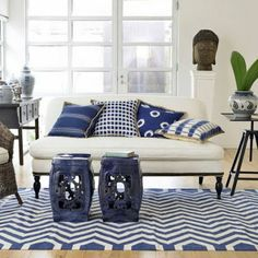 Navy Blue Garden Stools Are So Useful In My Family Room And Can Be Easily  Taken To The Patio For Parties. Love These Hand Printed Fabric Pillows With  Jute ...