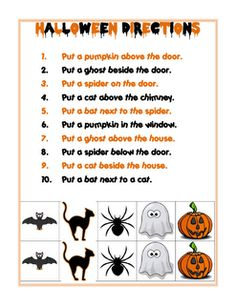 following directions free cut and paste printable - Halloween Following Directions