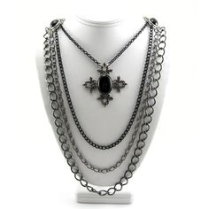 Gothic Jewelry - Layered Chain Mourning Necklace by Ghostlove ($79) ❤ liked on Polyvore