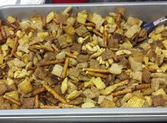 """Original 1956 Chex Party Mix - this is The One, but have to include Cheerios too for my """"kids"""", skip the peanuts, but add pecans and cashews for me! Chex Party Mix Recipe, Chex Mix Recipes, Tv Mix Recipe, Appetizer Recipes, Snack Recipes, Cooking Recipes, Cooking Stuff, What's Cooking, Candy Recipes"""