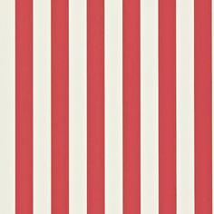 Papel pintado con rayas Mimi en color rojo y blanco, telas & papel