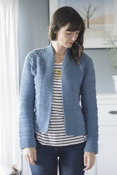 tegan cardigan by carrie bostick hoge / in quince & co. osprey, colorway delft