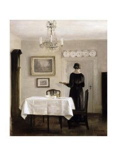 Interior with Lady Carrying Tray oil painting by Carl Vilhelm Holsoe, The highest quality oil painting reproductions and great customer service! Art Deco, Art Nouveau, Deco Pastel, The Piano, Interior Design Courses, Mary Cassatt, Oil Painting Reproductions, Art Moderne, Art For Art Sake