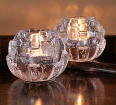 Kosta Boda Candle Holders from Sweden 2 Crystal by MillyCatVintage Glass Votive, Tealight Candle Holders, Votive Candles, Ice Texture, Glass Texture, Kosta Boda, Tea Light Holder, Glass Design, Sweden