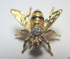 Antique Diamond Guilloche Enamel Bee Pin Antique Vintage Estate Art Deco D-.04CT #Handmade
