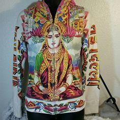 Lucky Brand hoodie.  Sz xs.  India.  EUC Lucky Brand Suitable for framing hoodie.  Zipper works, missing drawstring.  In excellent used condition.  Colors still very bright.  No rips, stains, holes. Has and Indian pattern on it. Lucky Brand Tops Sweatshirts & Hoodies