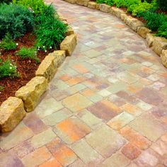 Venetian Heritage Series Paver walkway with stone edging. http://www.whiz-q.com